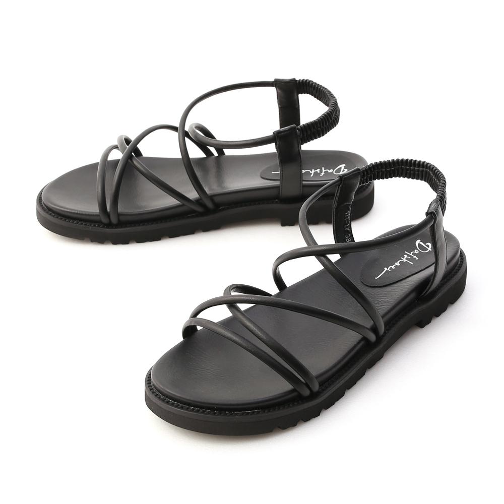 假期專屬.交叉帶加厚底羅馬涼鞋 時尚黑