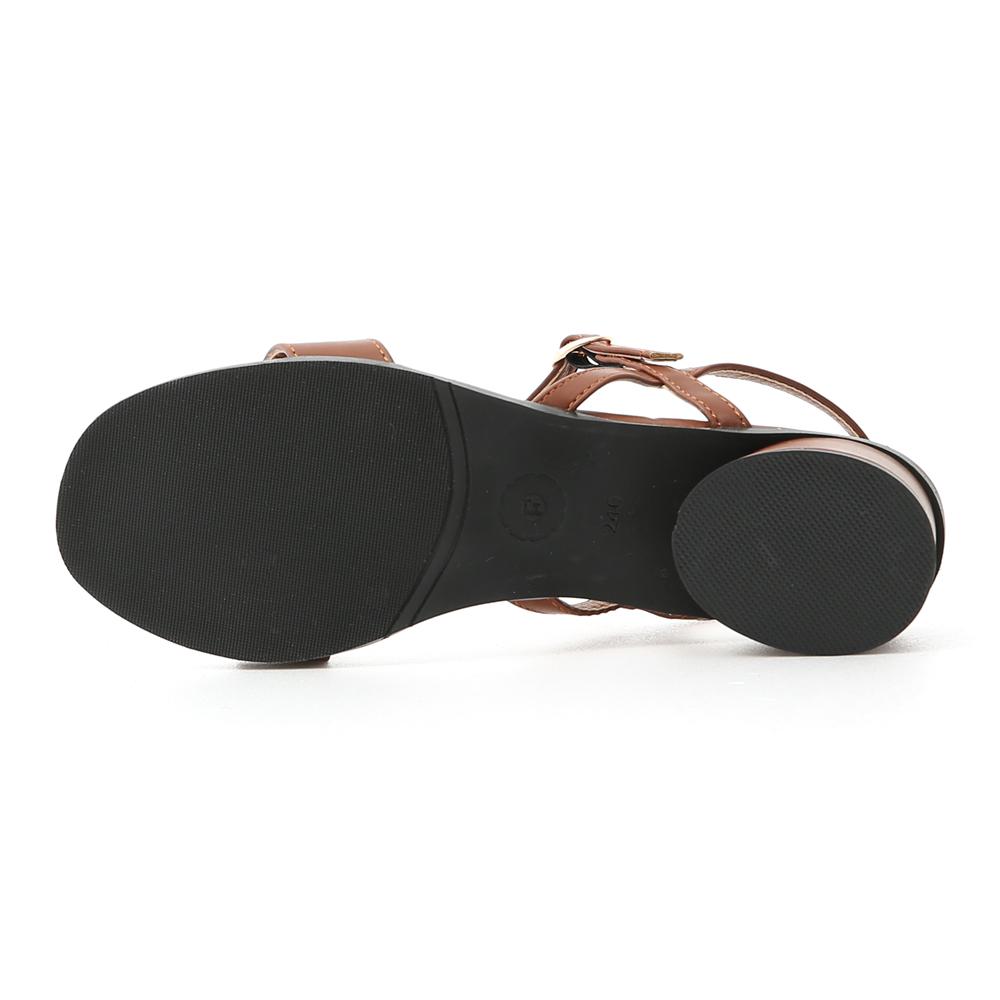 Ankle Strap Round Heel Sandals Brown