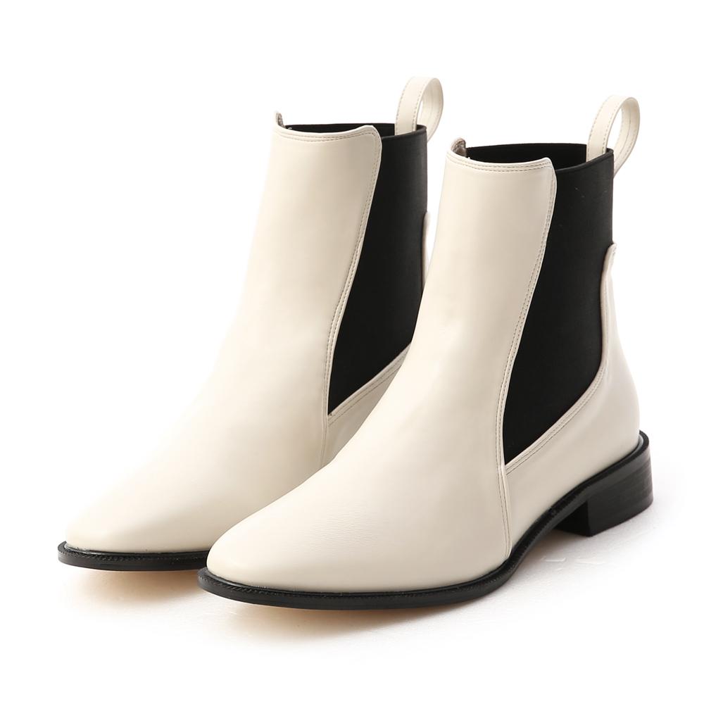 酷派率性.撞色拼接切爾西短靴 象牙米白