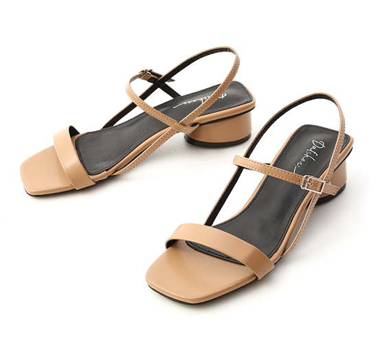 Square Toe Ankle Strap Round Heel Sandals Beige