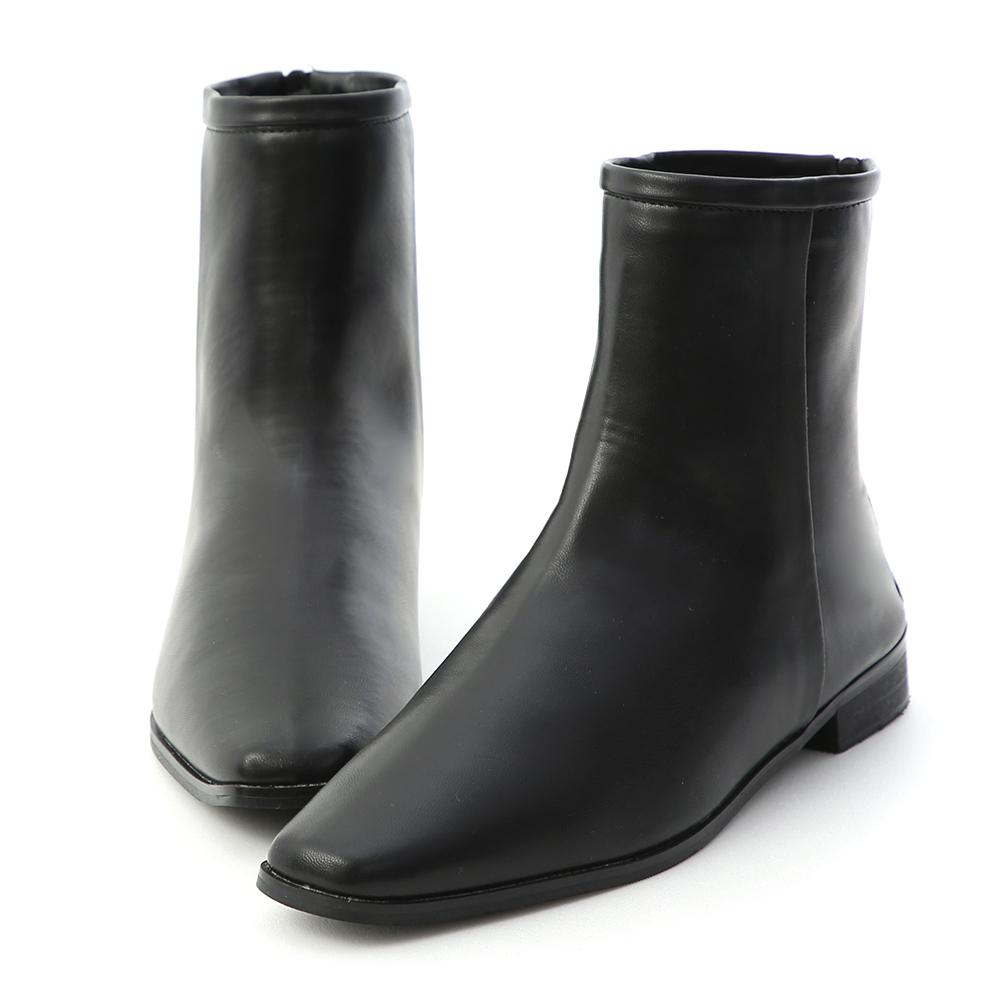 風格簡約.素面小方頭後拉鍊短靴 時尚黑
