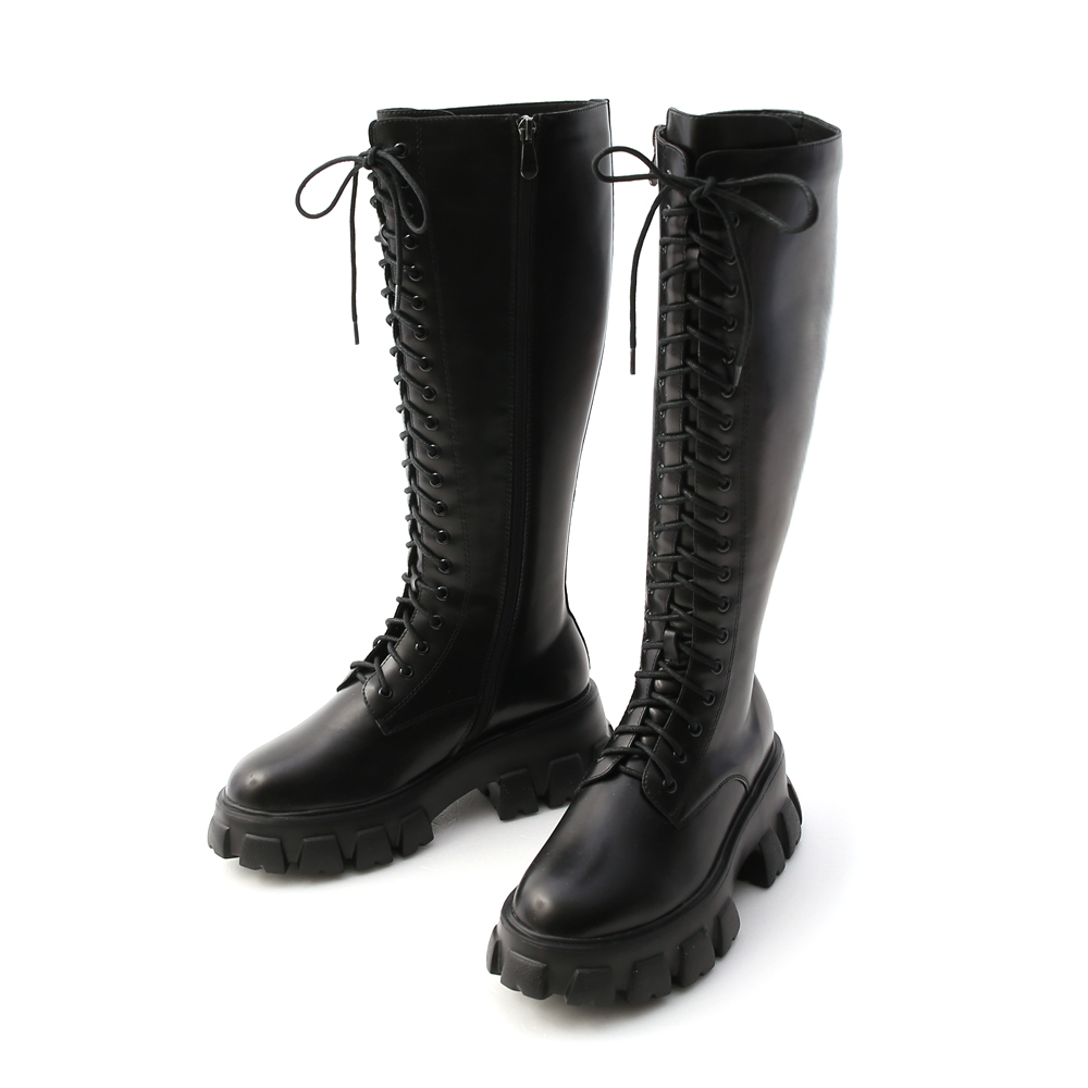 霸氣魅力.鋸齒底綁帶馬汀長靴 時尚黑
