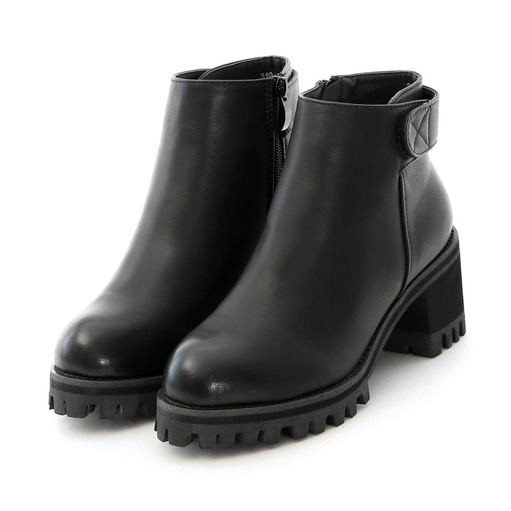 簡約魔鬼氈高跟厚底短靴
