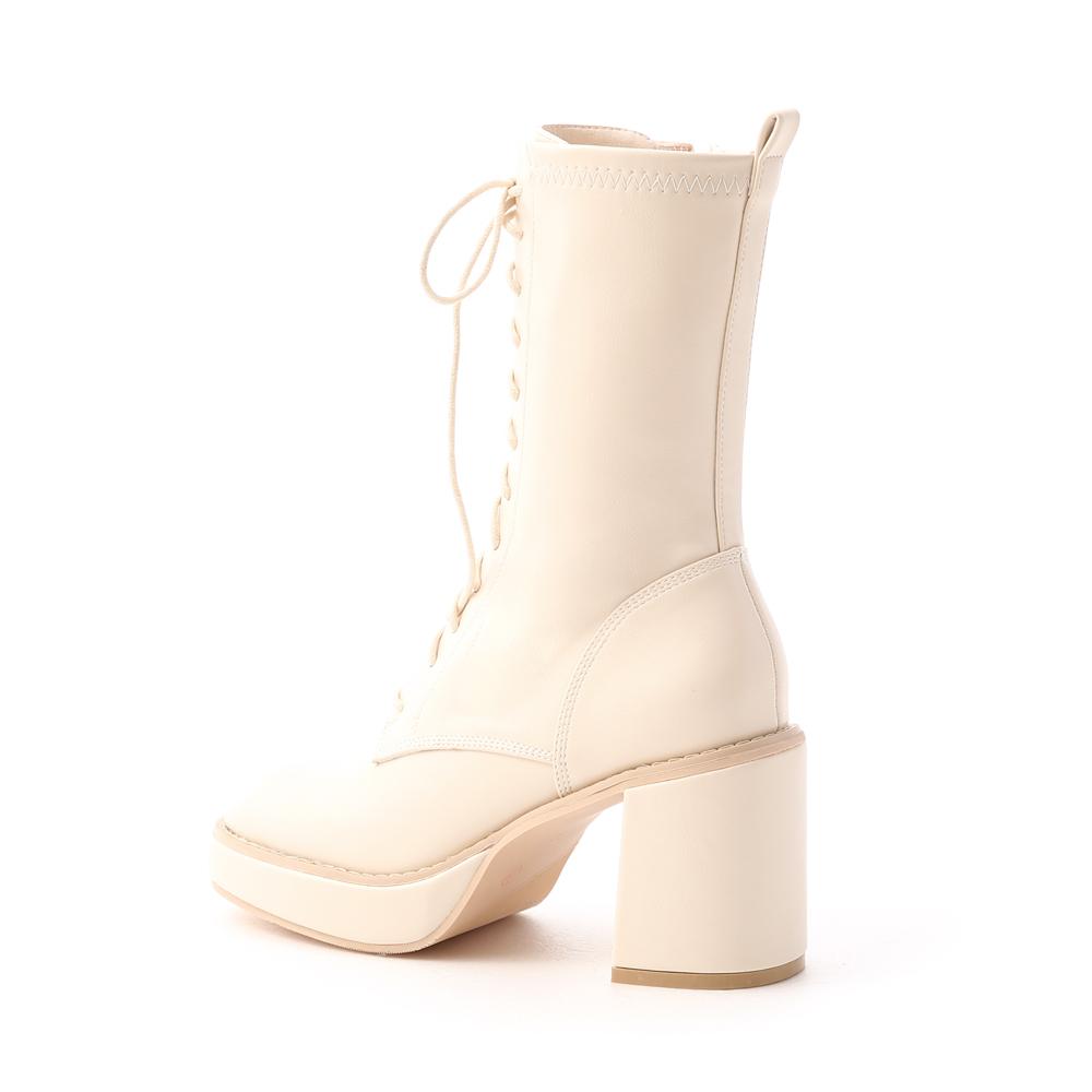 微辣個性.加厚水台方頭綁帶短靴 香草米白