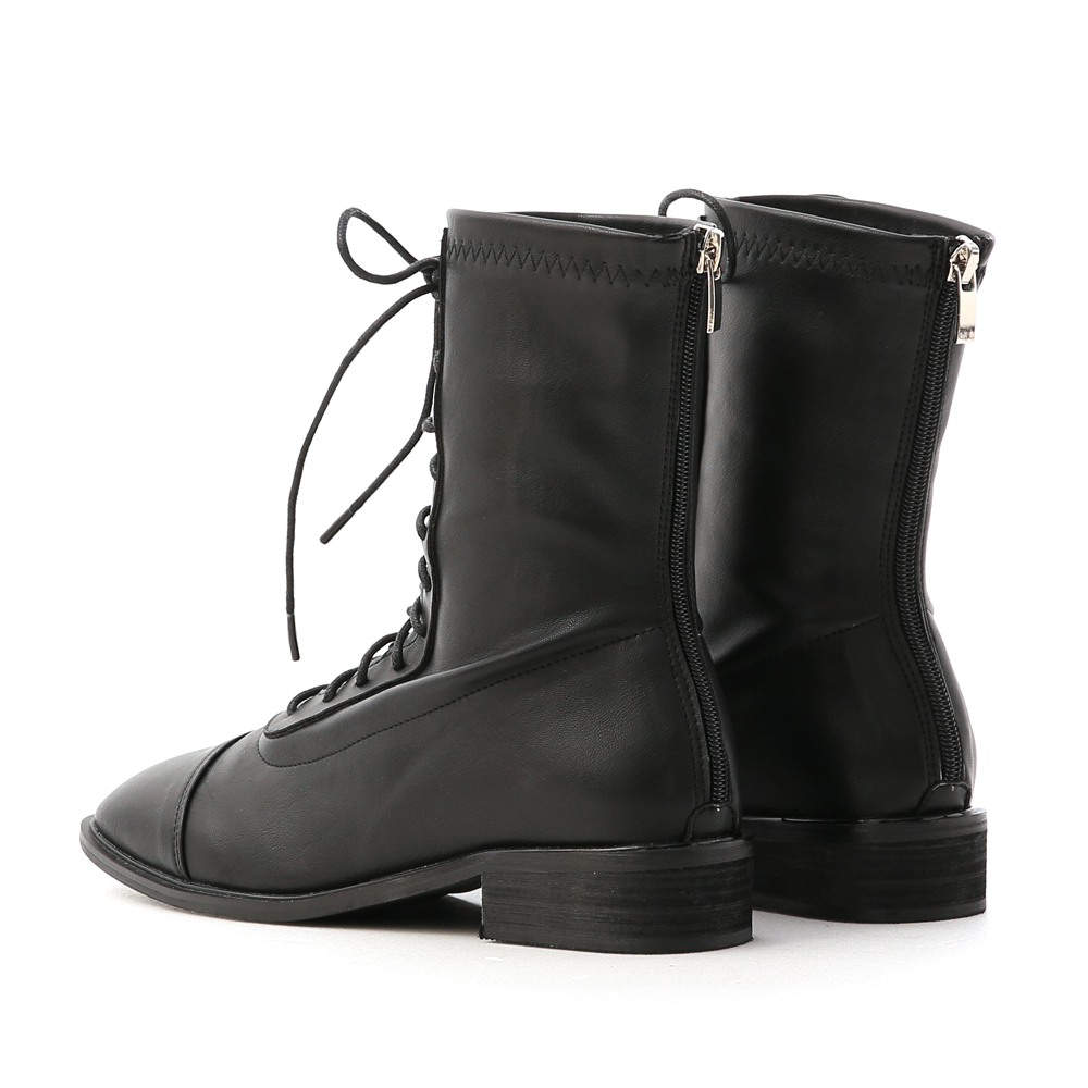 Back-Zipper Square Toe Lace-Up Boots Black