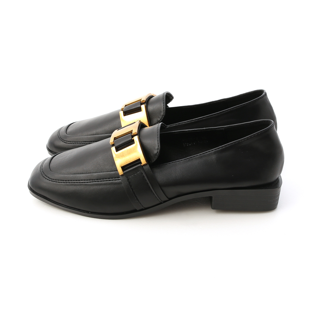Gold Metal Buckle Loafers Black