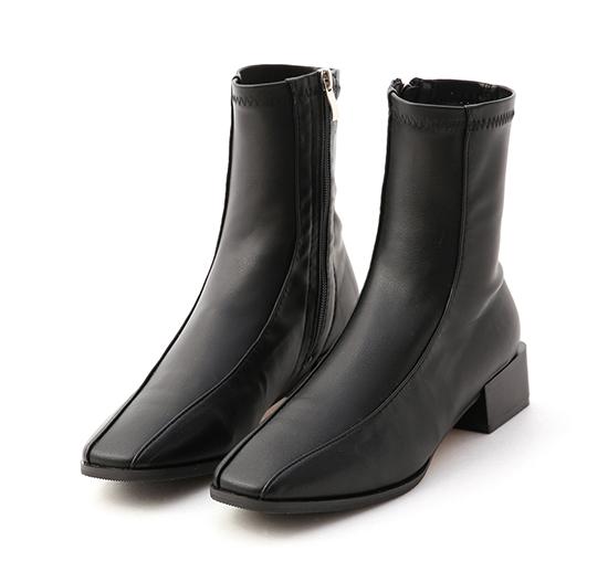 美拍風格.雙摺線木紋跟襪靴 時尚黑