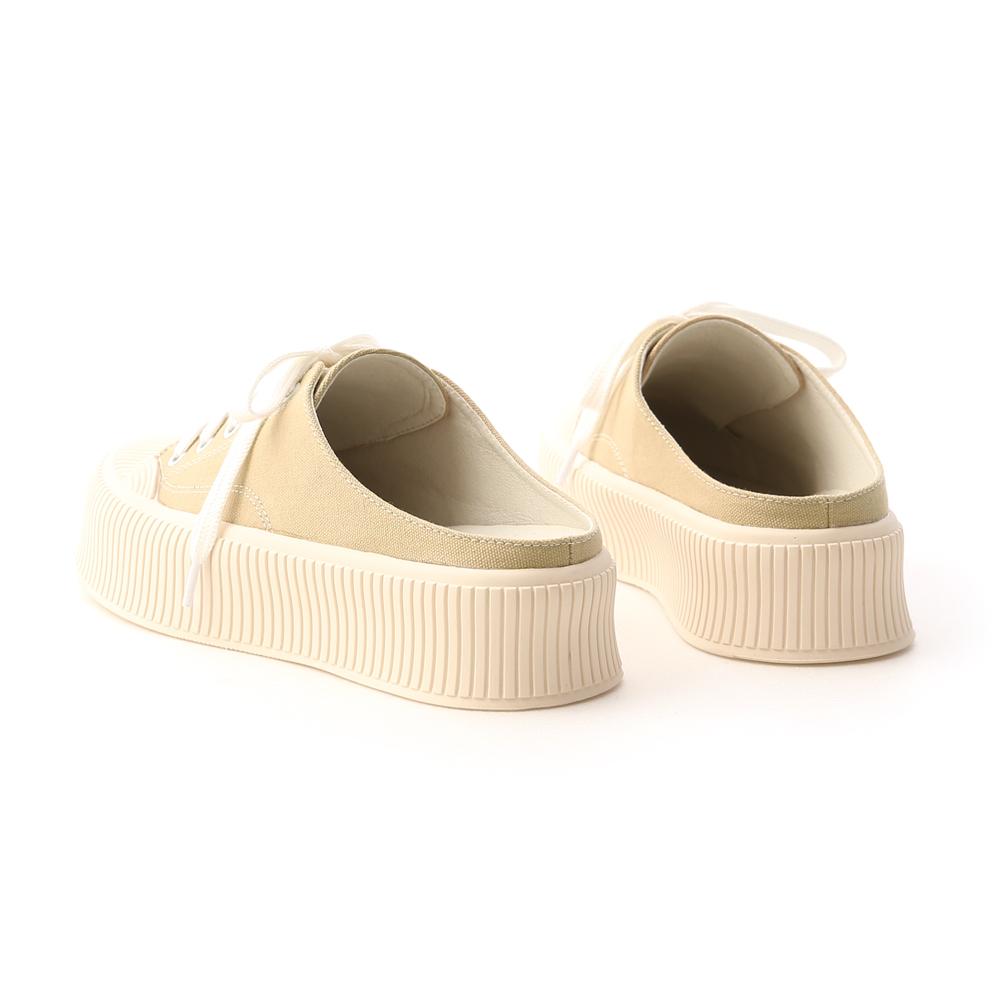 樂活主題.休閒帆布厚底穆勒鞋 卡其綠