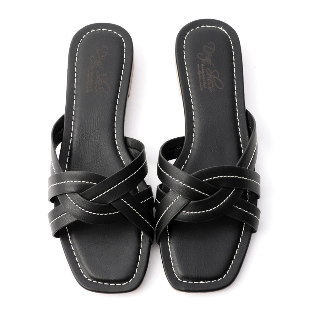 輕鬆氛圍.交叉車線方頭拖鞋 時尚黑