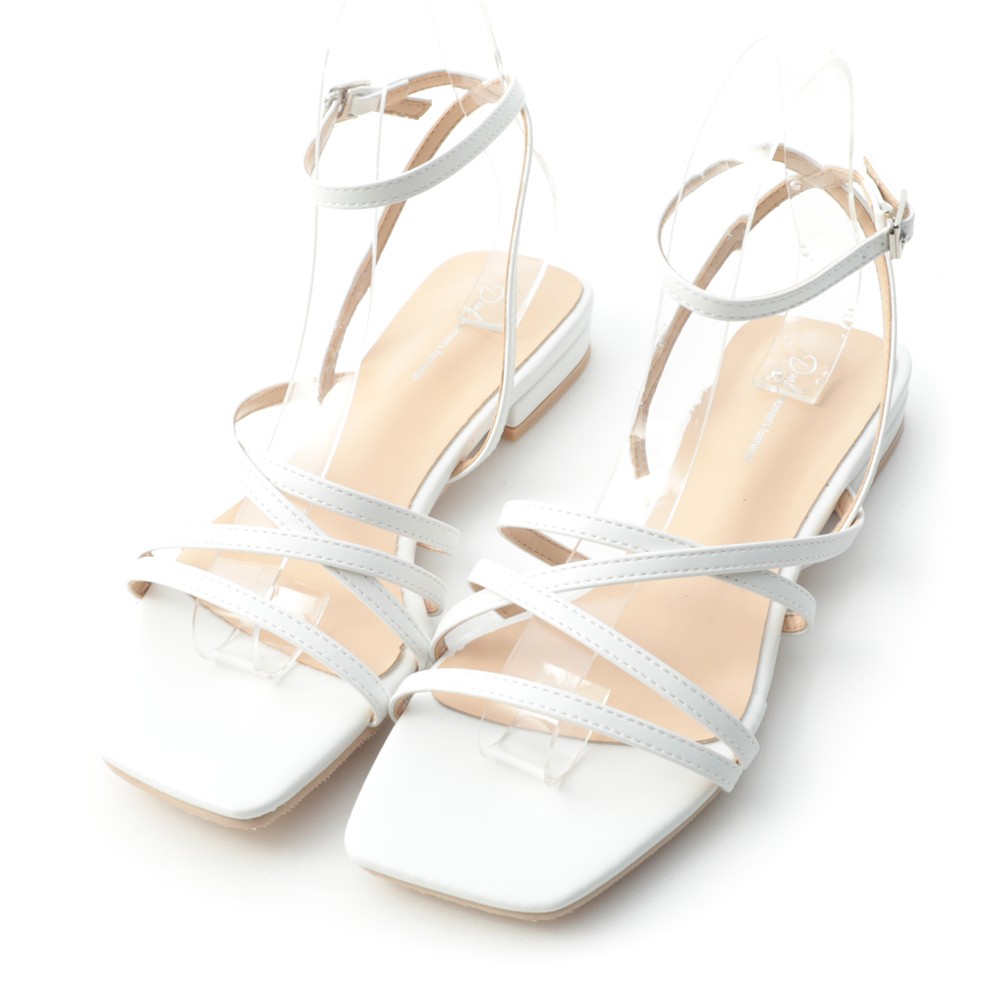 Square Toe Strappy Sandals White