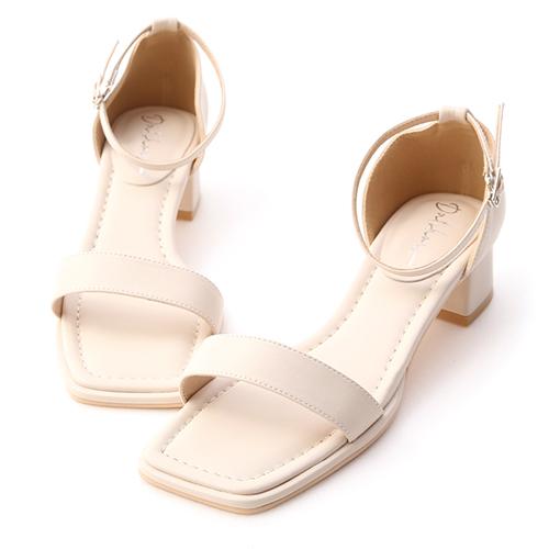 夏日定番.一字方頭繫踝中跟涼鞋