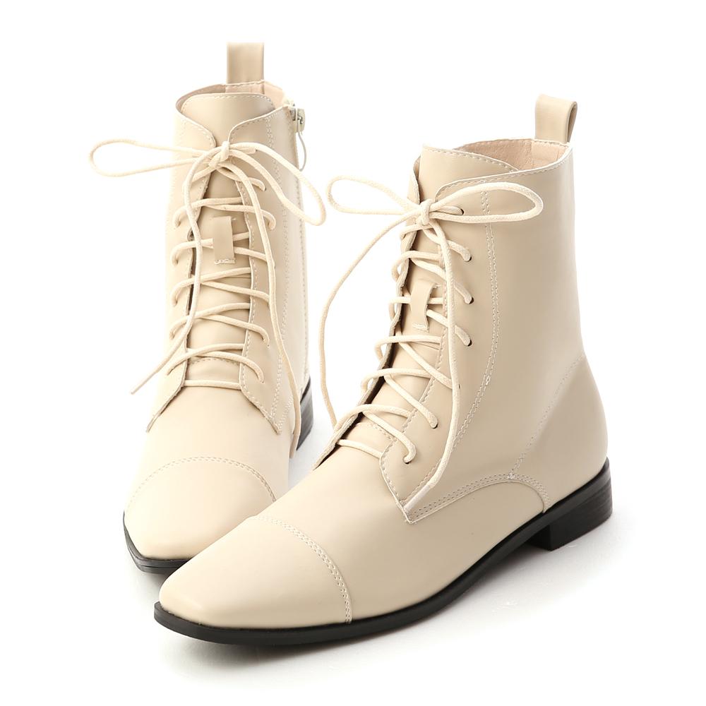 D+AF 率真個性.小方頭綁帶短靴