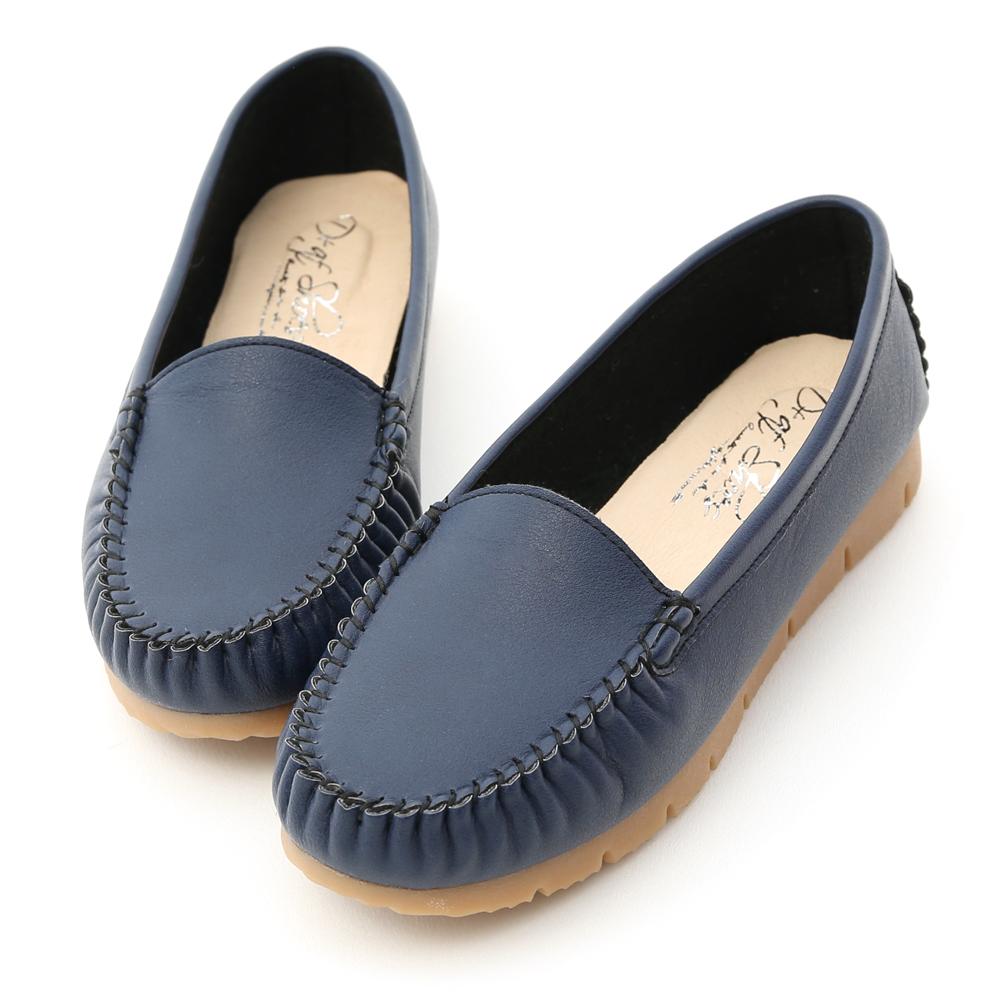 舒服好穿.MIT素面莫卡辛健走鞋 個性藍