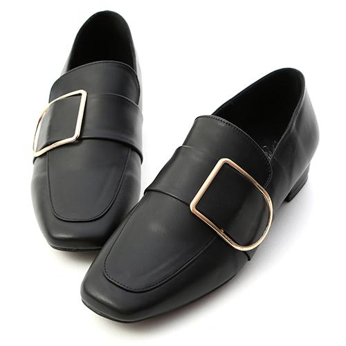 D+AF 質感主打.金屬方金釦低跟樂福鞋