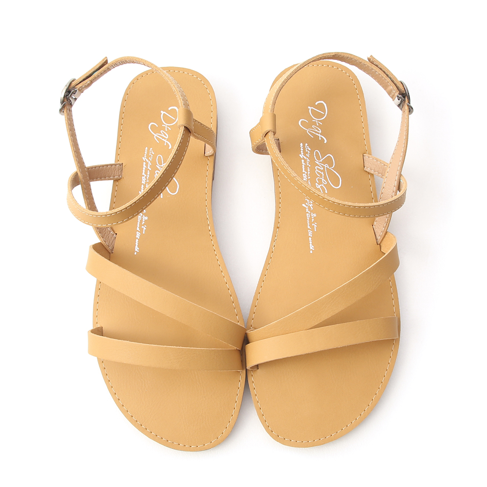 Ankle Strap Soft Flat Sandals Yellow