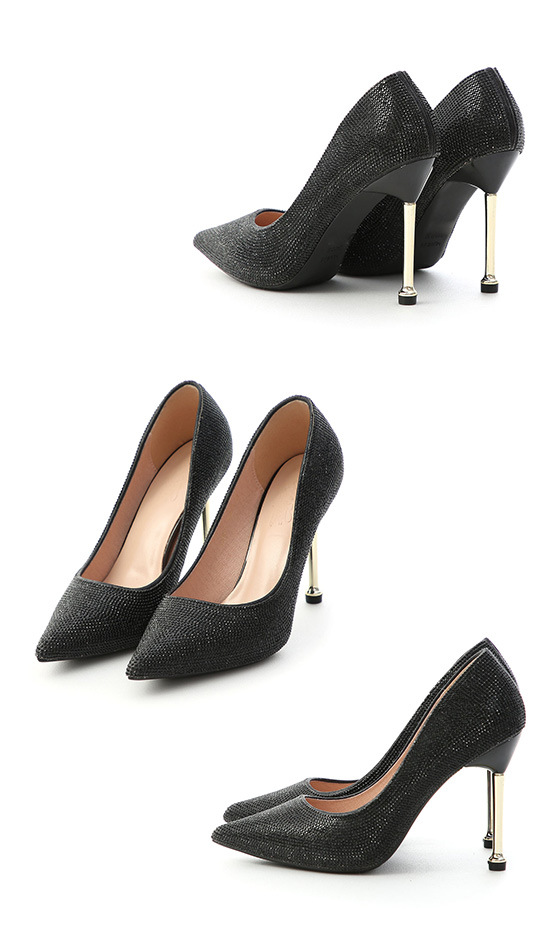 Rhinestone Pointed Toe Metallic Heels Black
