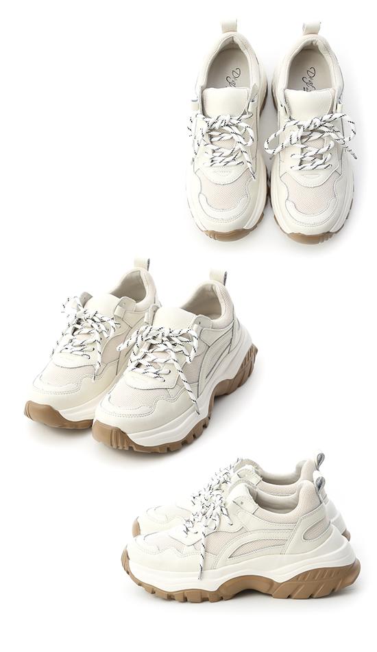 潮流宣言.真皮撞色增高老爹鞋 百搭米