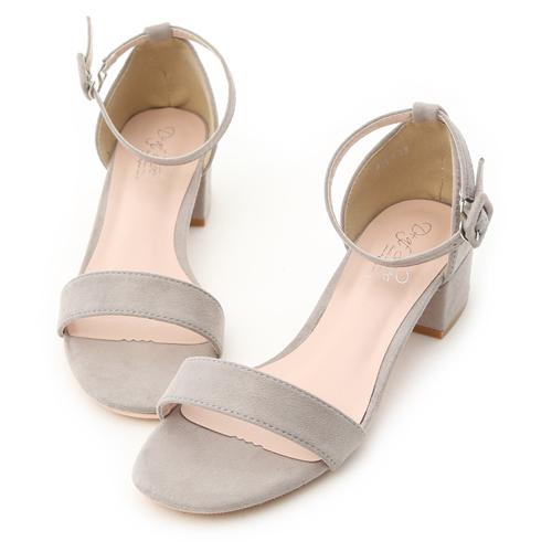 D+AF 夏日定番.一字繫踝方頭低跟涼鞋