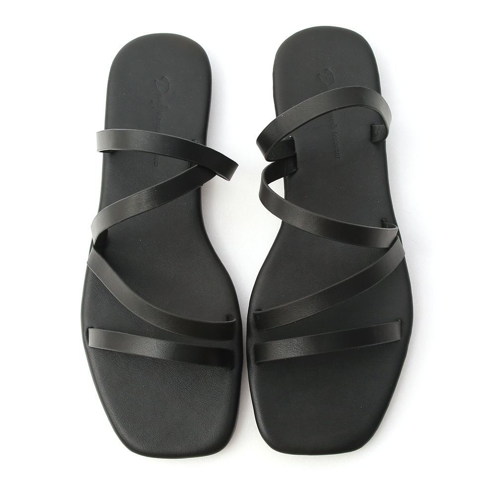 Square Toe Strappy Slides Black
