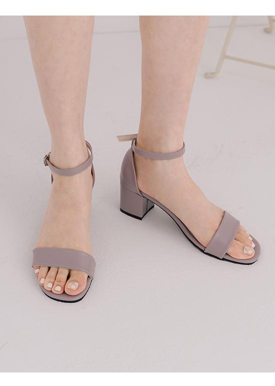 MIT Square Toe Ankle Strap Mid Heel Sandals Lavender