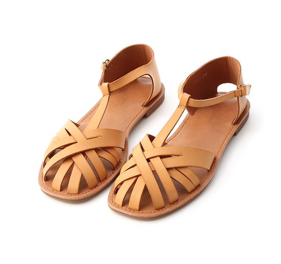 古著品味.層次交叉T字編織涼鞋 焦糖黃棕