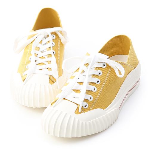 D+AF 街頭主流.奶油頭後踩式帆布休閒鞋