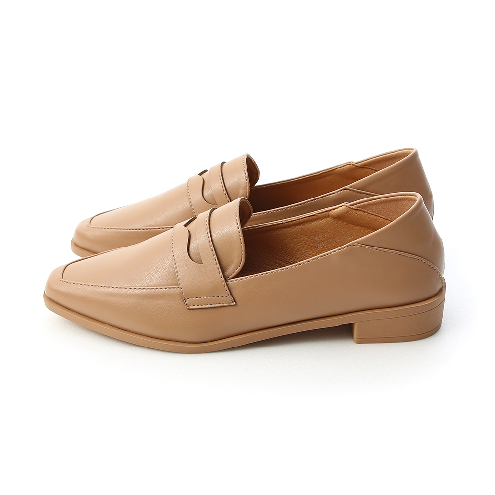 Classic Pointed Toe Penny Loafers Beige