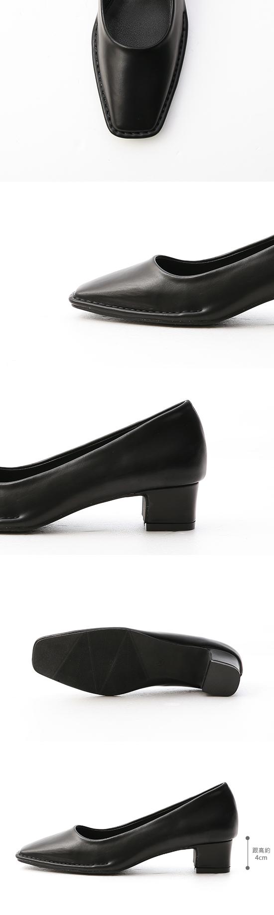 神秘色調.獨特車線方頭中跟鞋 時尚黑