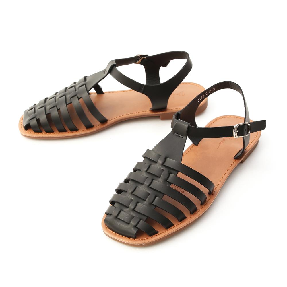Closed Toe Interwoven Flat Sandals Black
