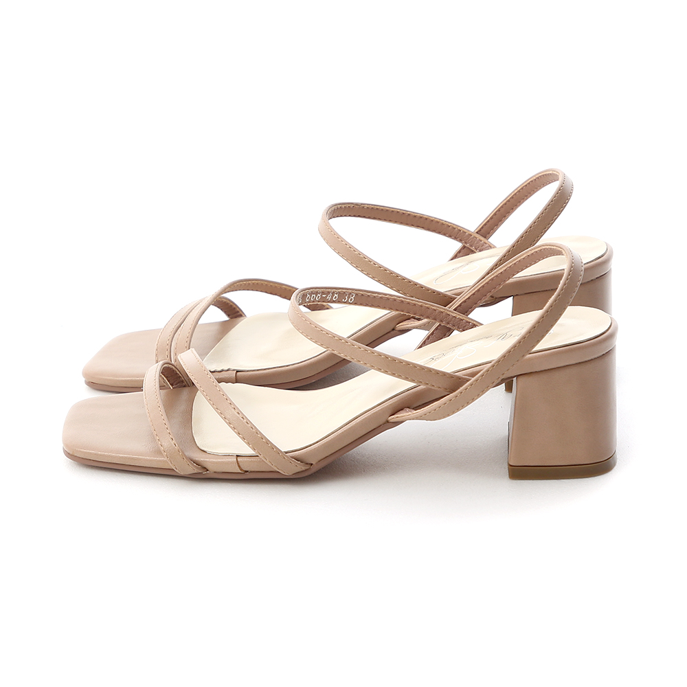 Square Toe Strappy Mid Heel Sandals Nude pink