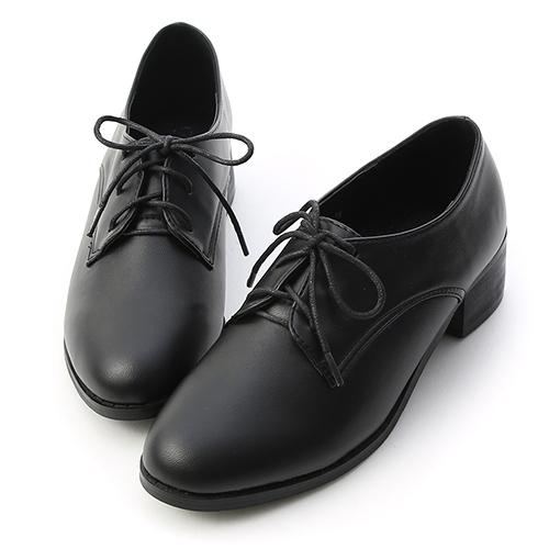 知性學院.素面綁帶木紋跟牛津鞋
