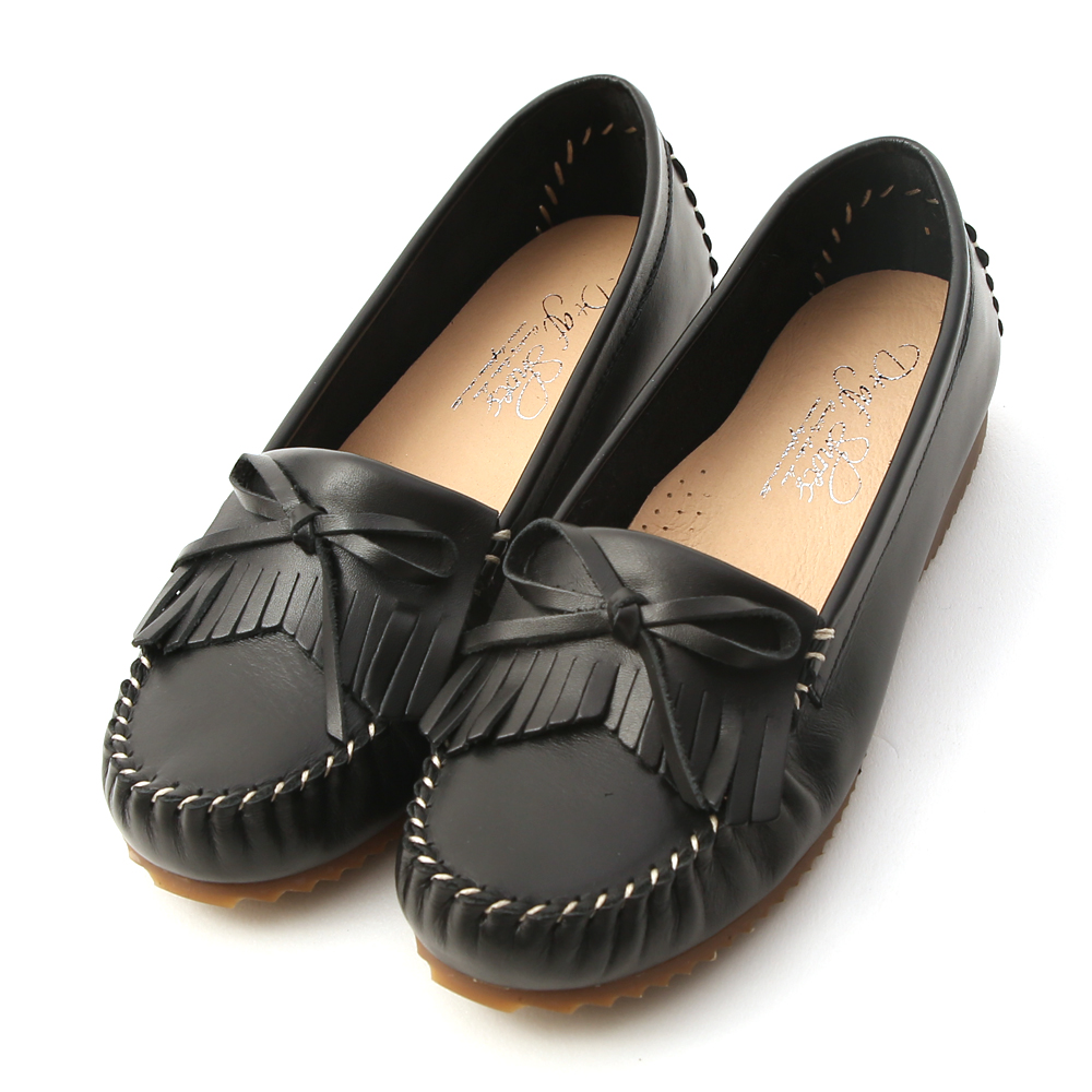 Leather Fringe Moccasins Black