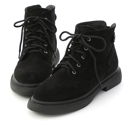 D+AF 酷帥風格.絨面綁帶短筒馬汀靴