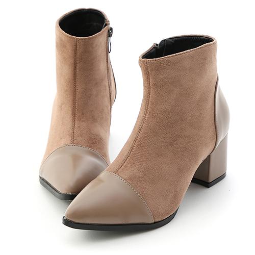 D+AF 魅力冬日.拼接設計尖頭中跟短靴