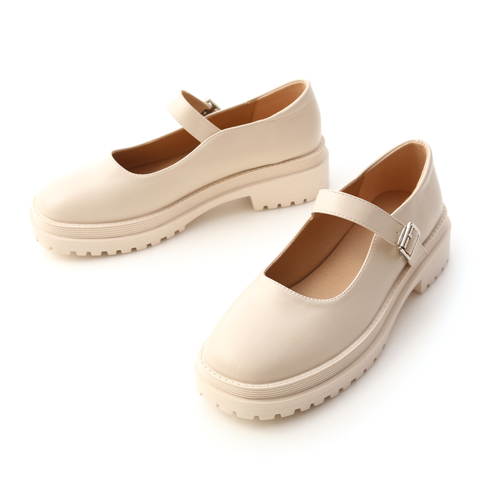 Round Toe Thick Sole Mary Jane Shoes Vanilla