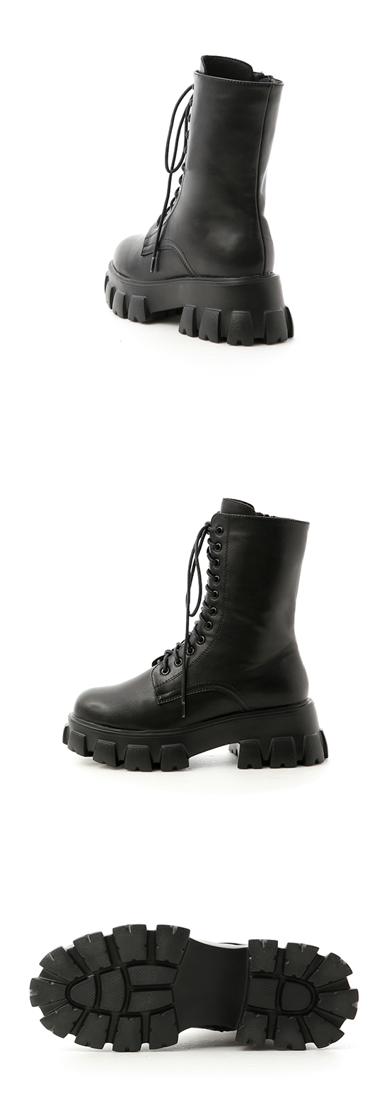 酷派個性.超輕量綁帶鋸齒靴 時尚黑