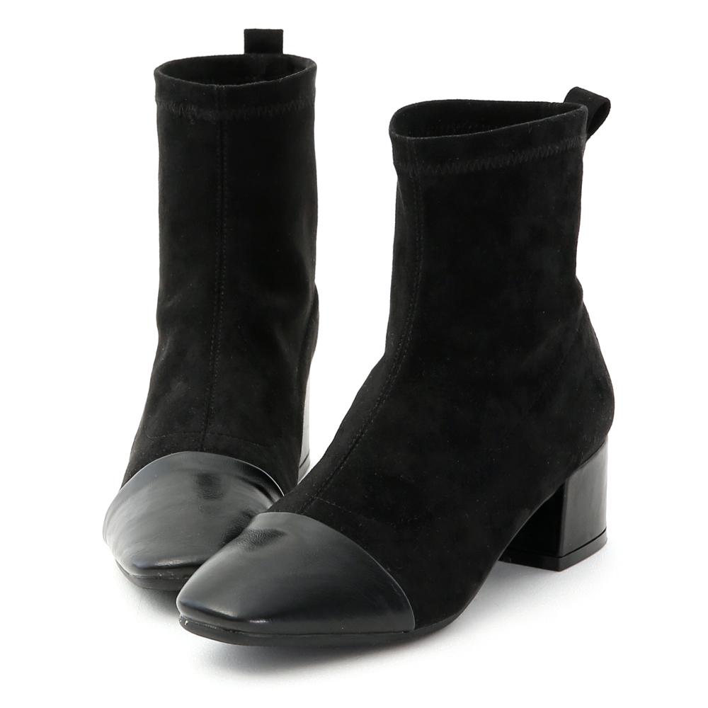名媛時尚.異素材拼接低跟襪靴 時尚黑