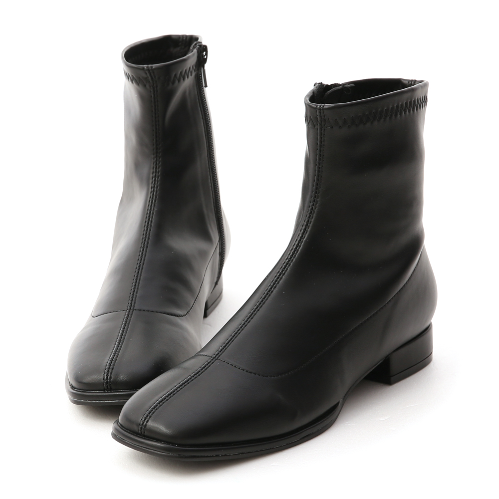 Faux Leather Square Toe Low Heel Boots Black