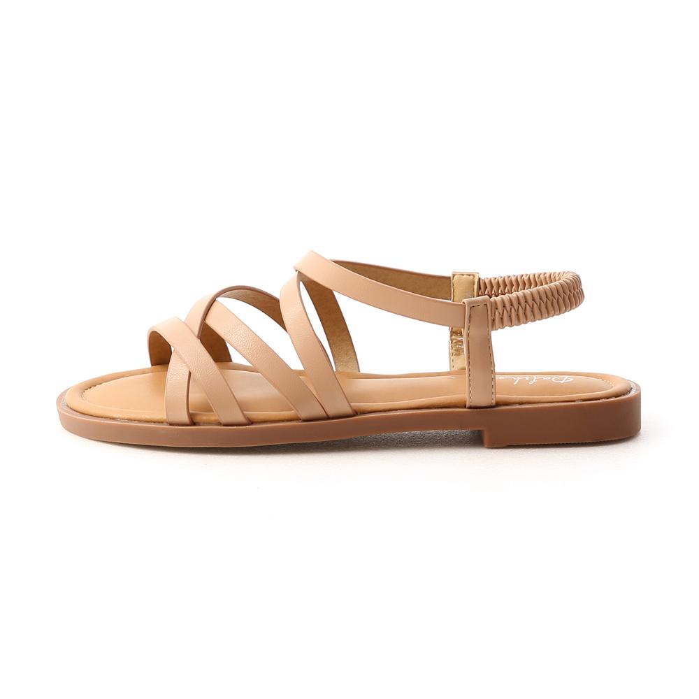 Soft Faux Leather Cross Straps Sandals Beige