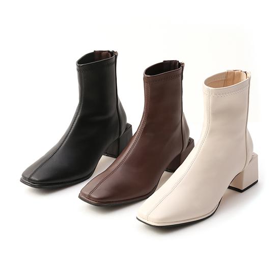 極簡時尚.素面方頭積木跟襪靴 時尚黑