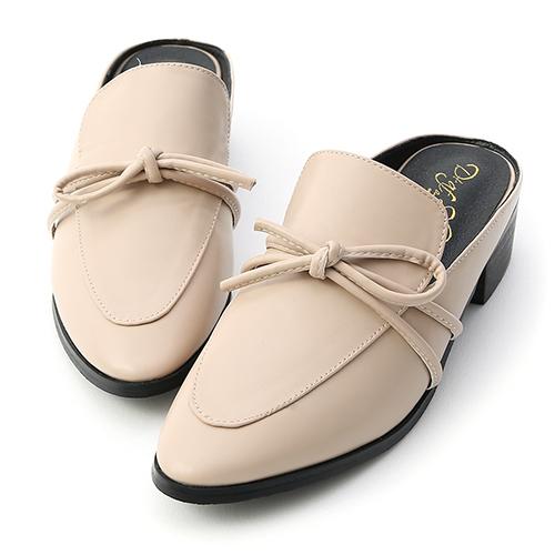 D+AF 好感品味.綁結設計低跟穆勒鞋