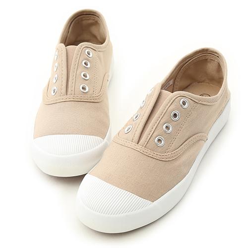 D+AF 活力自在.奶油頭無綁帶休閒帆布鞋