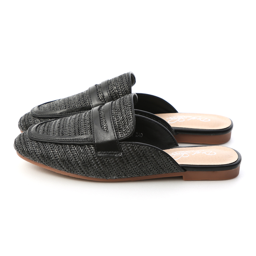 Woven Flat Mules Black