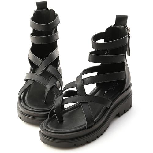 暗黑個性.交叉夾腳厚底羅馬涼鞋