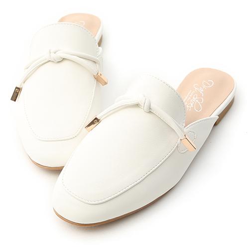 輕快節奏.小金飾綁結平底穆勒鞋