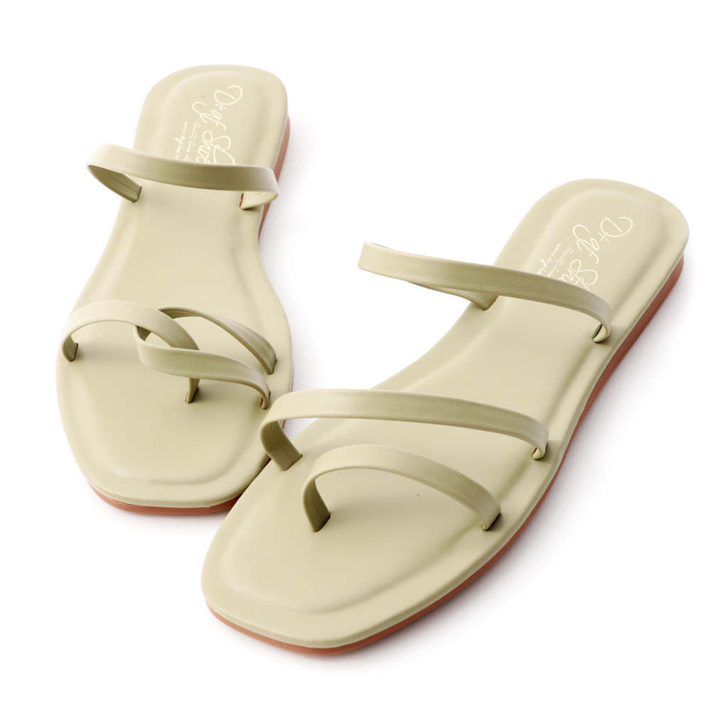 Mismatched Strappy Sandals Avocado Green