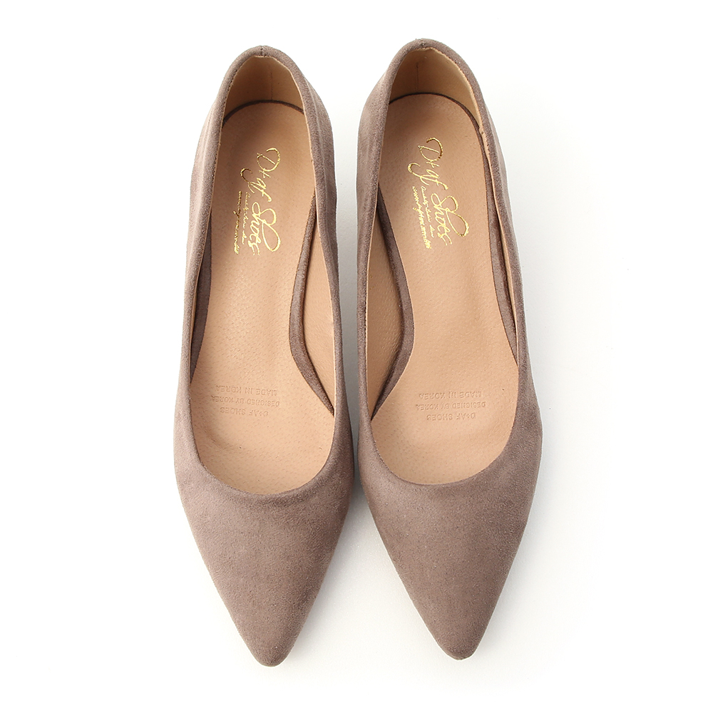 Plain Faux Suede Pointed Toe Low Heels Brown