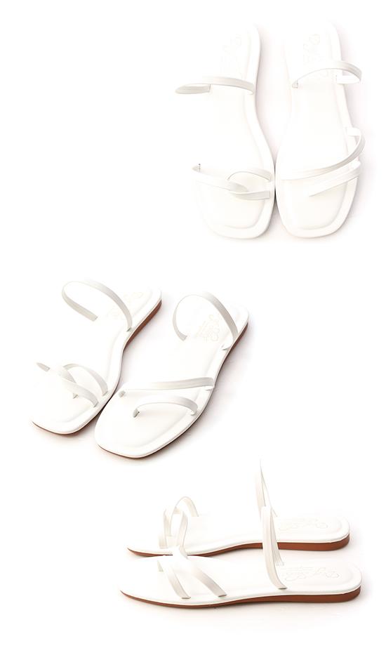 アシンメトリーストラップサンダル ホワイト