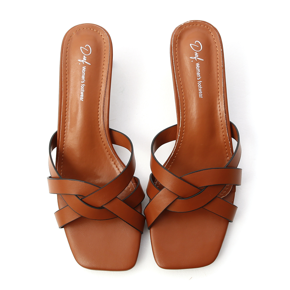 Square Toe Interlocked Strap Mid Heel Sandals Brown