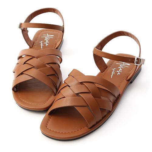 夏日海岸.多層次平底編織涼鞋